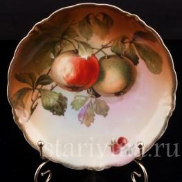 Декоративная фарфоровая тарелка Яблоки, Porzellanfabrik Marktredwitz, Jaeger & Co., Германия, 1872-1898 гг.
